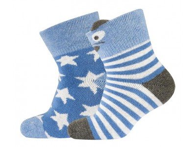 2-pk Baby Terry sock - Bear/Stars