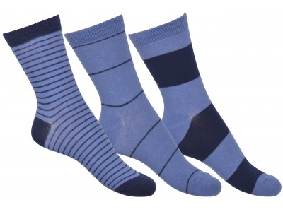 Numbers 3-pack Socks - STRIPES - Brill blue