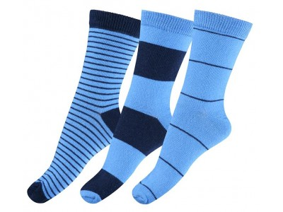 Numbers 3-pack Socks - STRIPES - Delft Blue