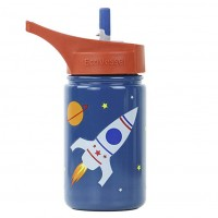 Water Bottle with Flip  Straw top - 400 ml