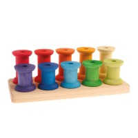 Stacking Game Large Bobbins, rainbow colours