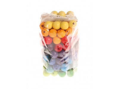 120 Coloured Wooden Beads, 12mm