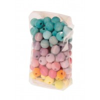 120 Wooden Beads, pastel